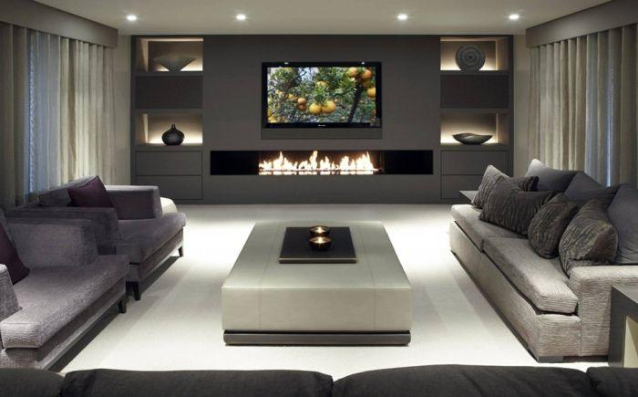 Wohnzimmer mit kamin und fernseher  TV Wände für die perfekte Inneneinrichtung! | wohnzimmer ...