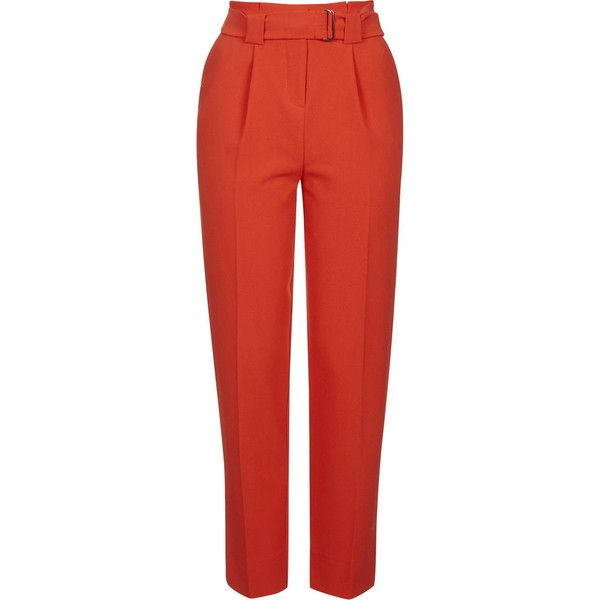 TopShop Belted Peg Trousers (205 BRL) ❤ liked on Polyvore featuring pants, capris, red, red pants, topshop, peg trousers, tailored pants and red trousers