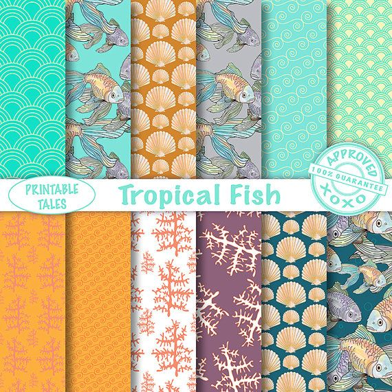 Lovely 'Tropical Fish' digital paper pack. door PrintableTales