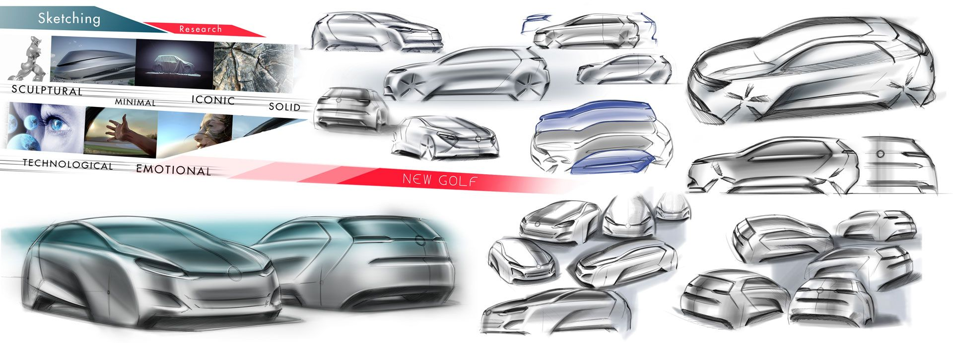 Volkswagen Golf Vision 2020 Concept Design Sketch Research