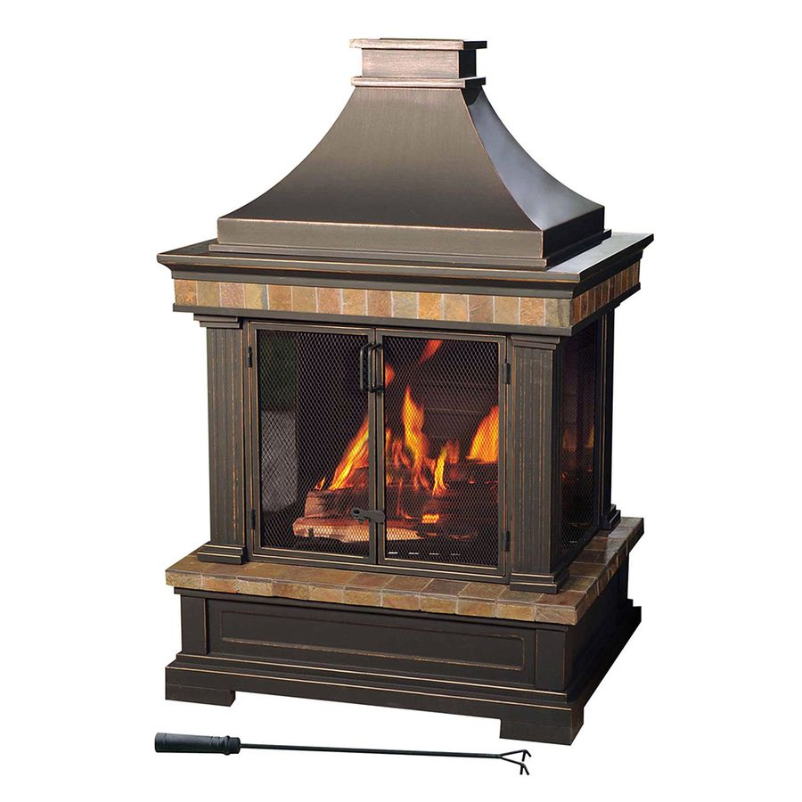 Sunjoy Black Steel Outdoor Wood Burning Fireplace L Of082pst 3 In