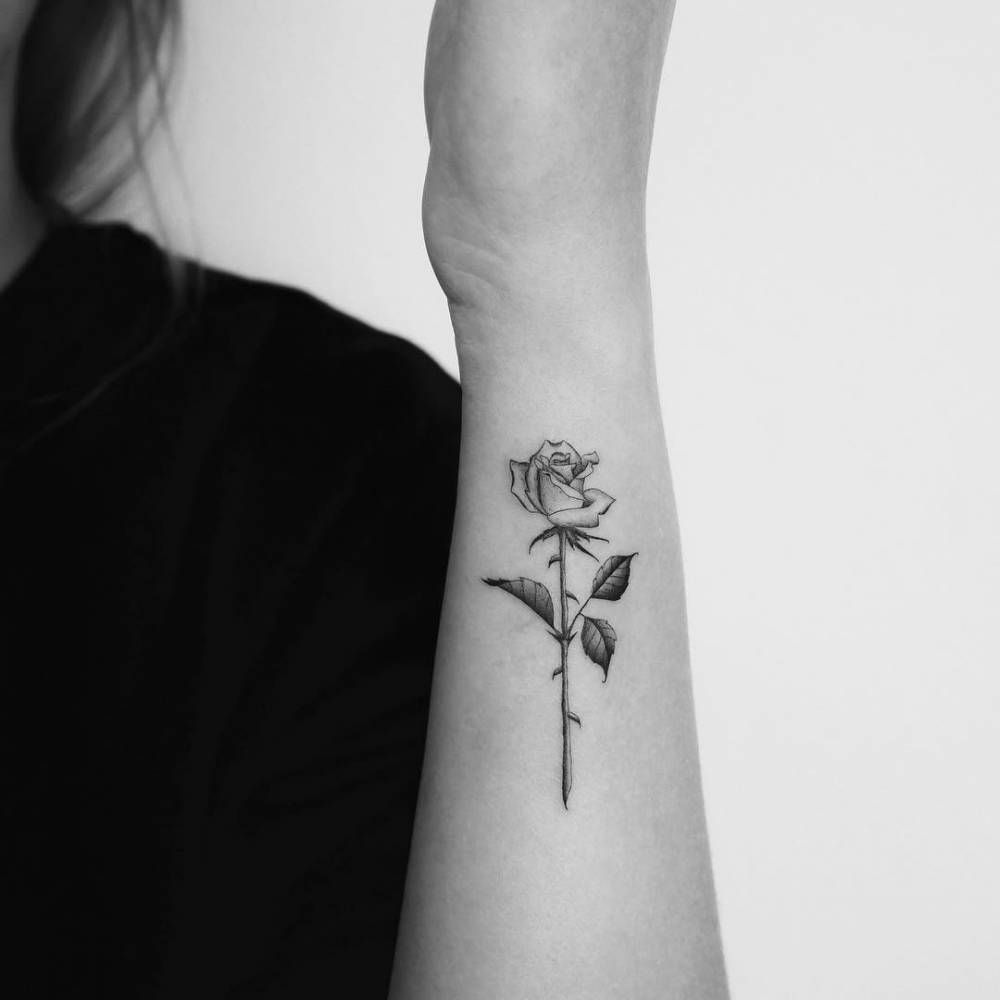 Single needle rose tattoo on the left forearm. #TattooIdeasForearm