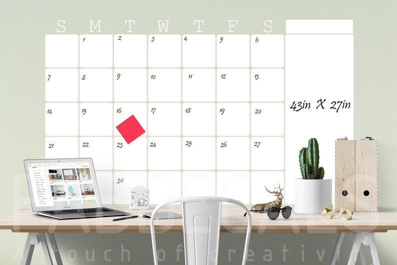 Monthly Whiteboard Calendar Dry Erase Wall Decal Calendar