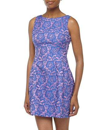 Two-Tone Floral Jacquard Dress, Purple/Pink by Alexia Admor at Neiman Marcus Last Call.