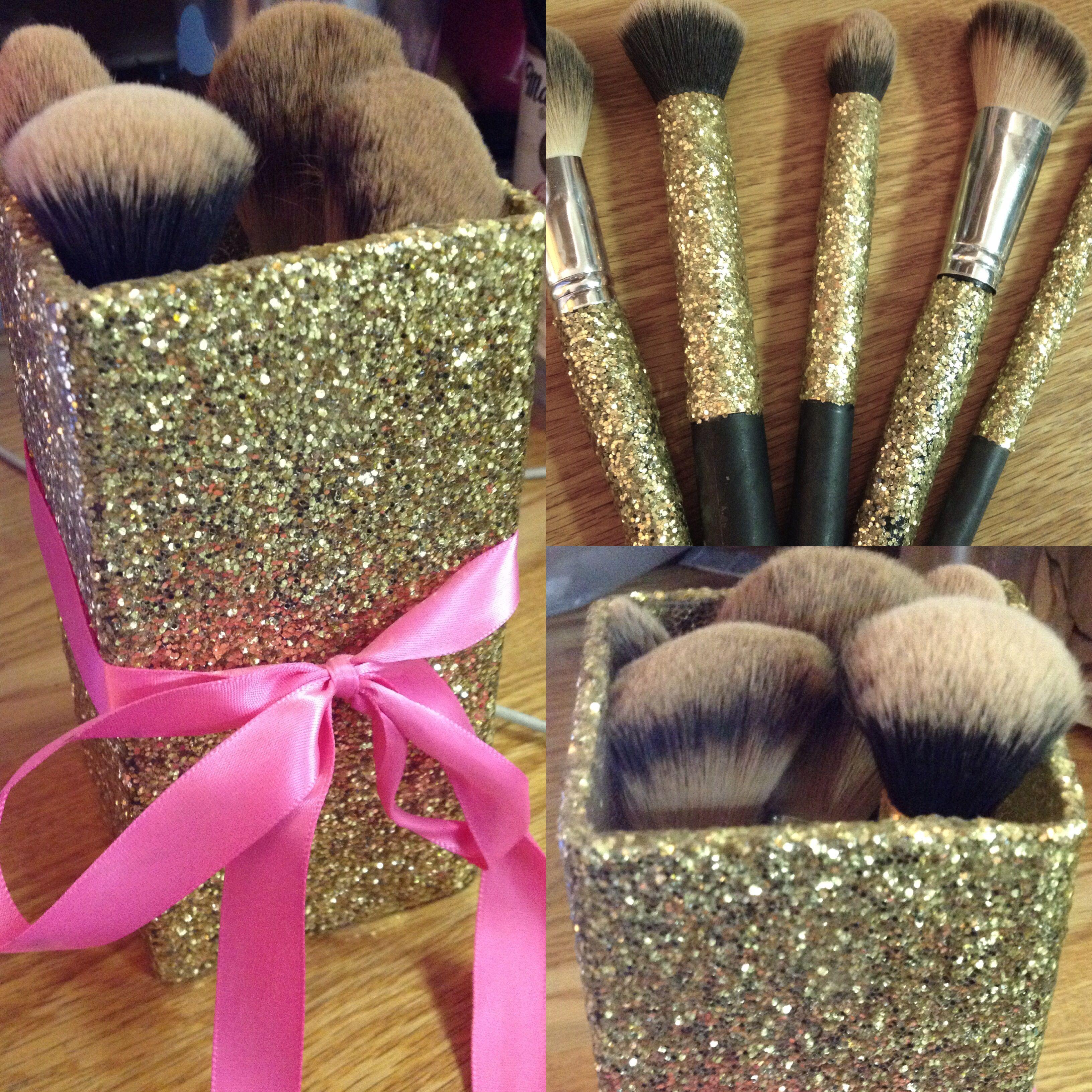 DIY glitter makeup brush holder and matching makeup