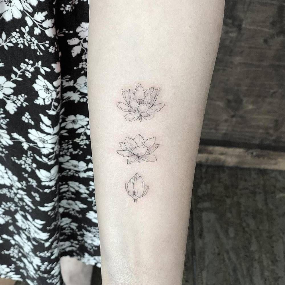 Blooming Lotus Flower Tattoo On The Left Inner Forearm Small Lotus Tattoo Flower Tattoo Back Realistic Lotus Tattoo