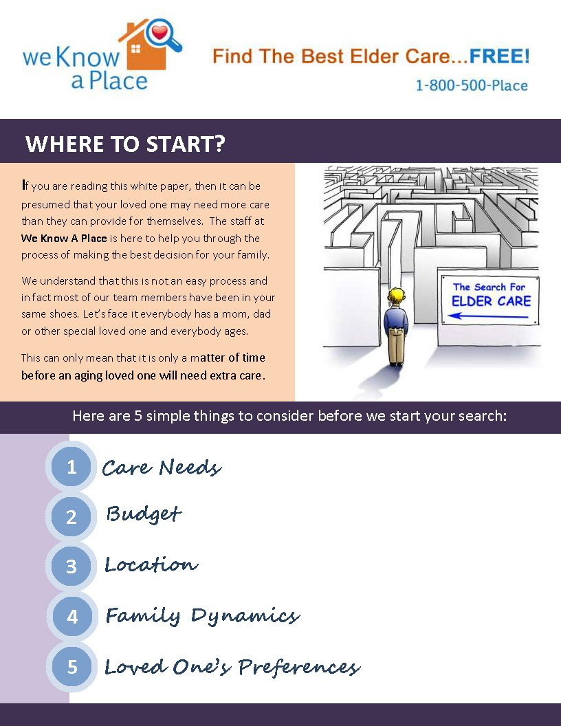 If you are reading this white paper, then it can be  presumed that your loved one may need more care  than they can provide for themselves. The staff at  We Know A Place is here to help you through the  process of making the best decision for your family.  We understand that this is not an easy process and  in fact most of our team members have been in your  same shoes. Let's face it everybody has a mom, dad  or other special loved one and everybody ages.  http://WeKnowaPlace.com
