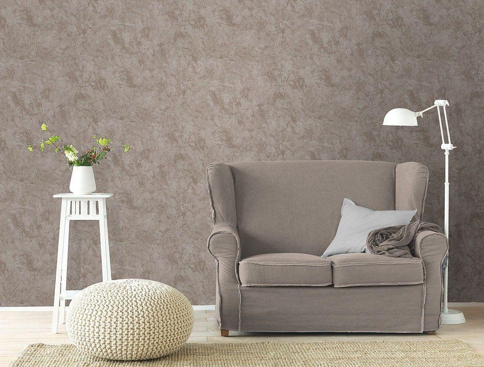 Tapete Rasch Wischtechnik grau beige 412154 | Wohnzimmer