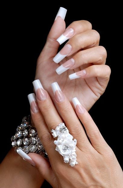 Long Square French Nails