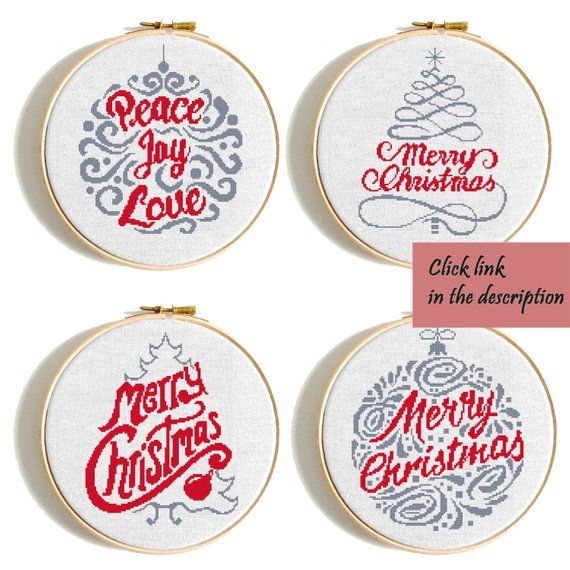 Christmas tree cross stitch pattern set Merry Christmas Tree Scandinavian christmas cards Counted cross stitch Geometric cross stitch PDF