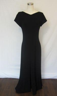 LINDA ALLARD ELLEN TRACY BLACK TRIPLE SLIT LONG DRESS SIZE 4 $99.99