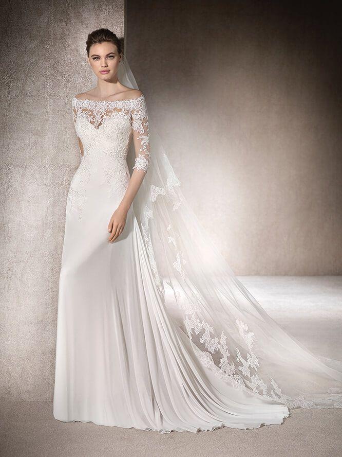 Brautkleid Carmen-Ausschnitt - Mica | leonie | Pinterest ...