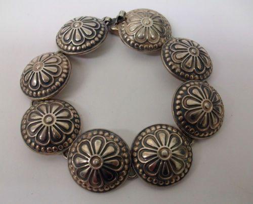 Sterling Domed Flower Link Bracelet