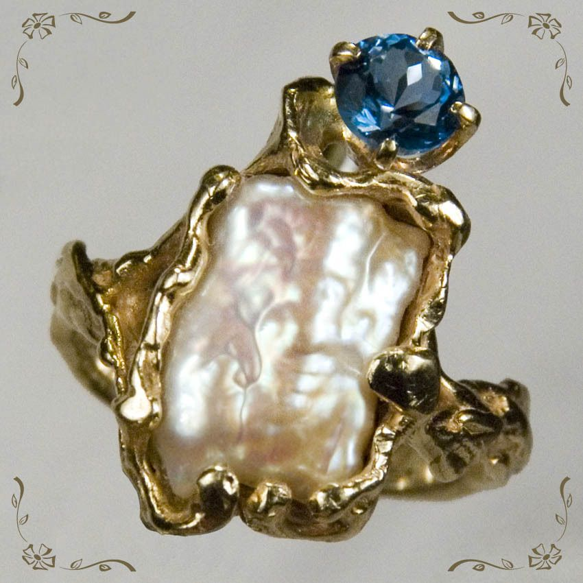 Amazing Vintage Blister Pearl London Blue Topaz 14k Gold Ring from tanyastreasures on Ruby Lane