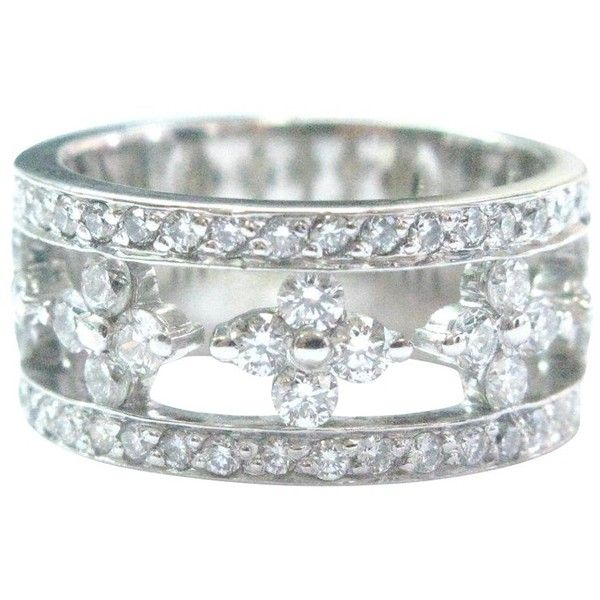 Pre-owned Jasmine Kwiat Diamond & 18K White Gold Partway Ring ($2,750) ❤ liked on Polyvore