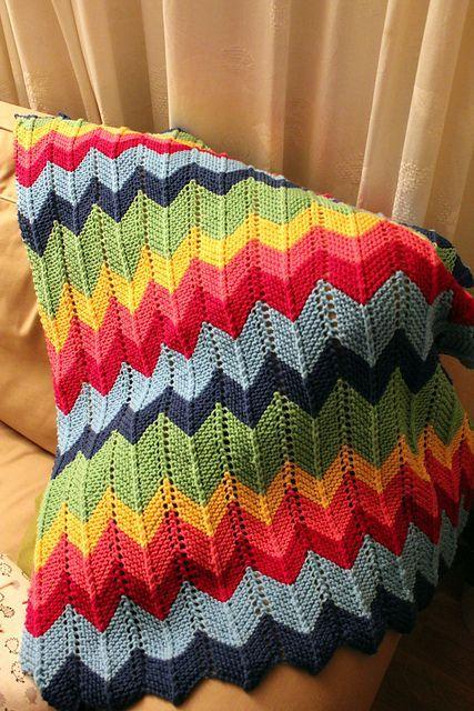 Zig Zag Knitted Blanket Pattern Video Pinterest Zig Zag Blanket