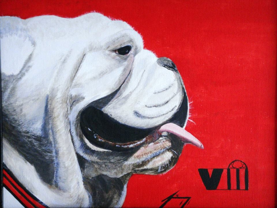 Bulldog Original Painting on Red by paintingjimmy1