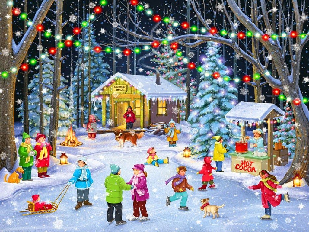 Christmas Festival Scene Drawing.Classic Vintage Style Christmas Celebration Paintings For