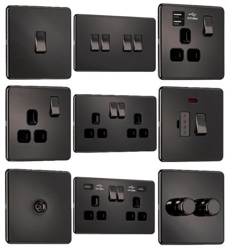 Details About Exclusive Promotion Screwless Flat Plate Light Switches Sockets Black Nickel In 2020 Light Switches Sockets Black Light Switch Chrome Light Switch