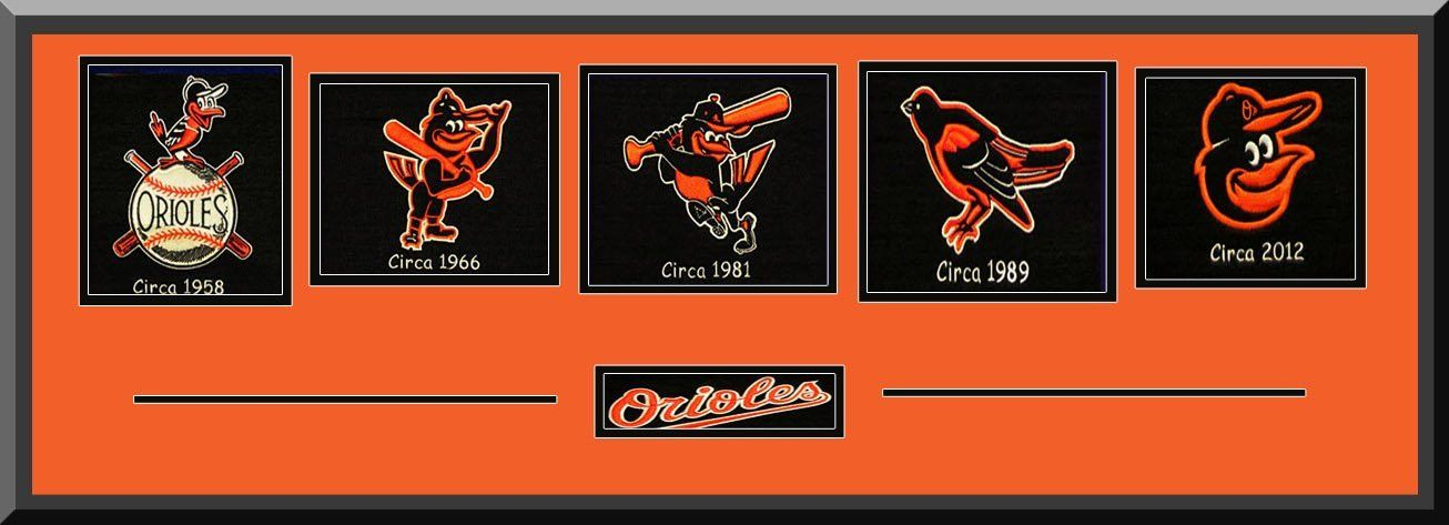 Baltimore Orioles Team Wool Blend Fabric Logos Throughout The Years With Team Color Double Matting-Framed Awesome & Beautiful
