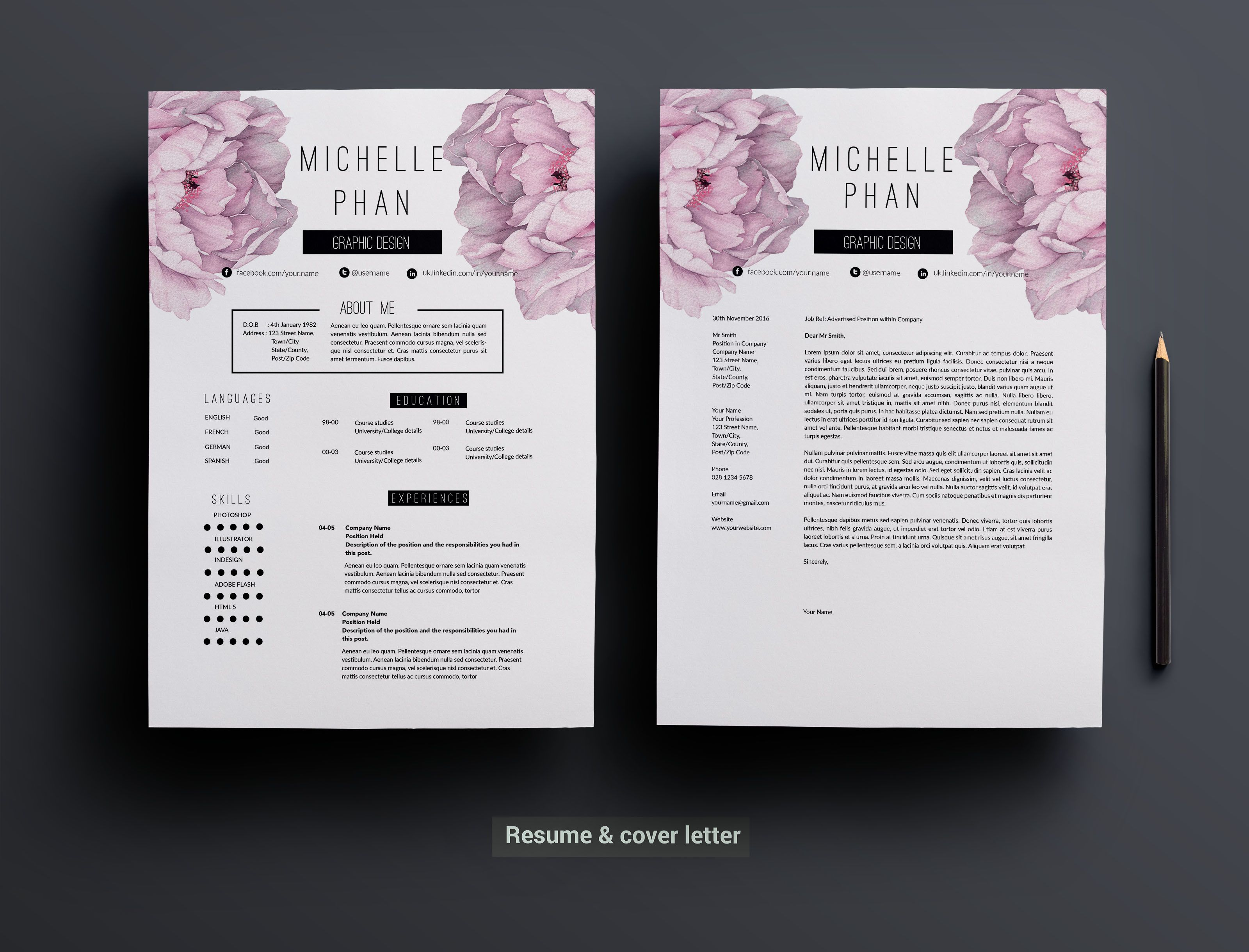 2 page resume template +cover letter by Chic templates on Creative ...