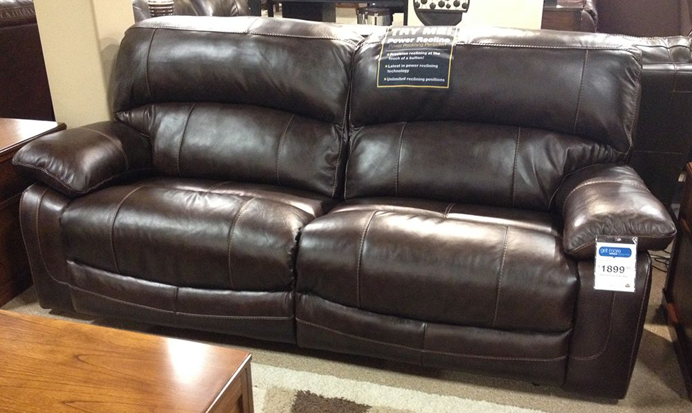Damacio Dark Brown Reclining Sofa Leather Match Upholstery