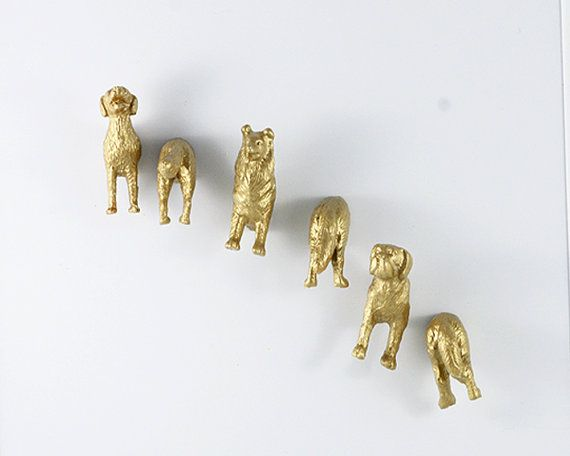 Dog lover magnet set in gold   Set of six by OriginalAnimalMagnet, $21.50