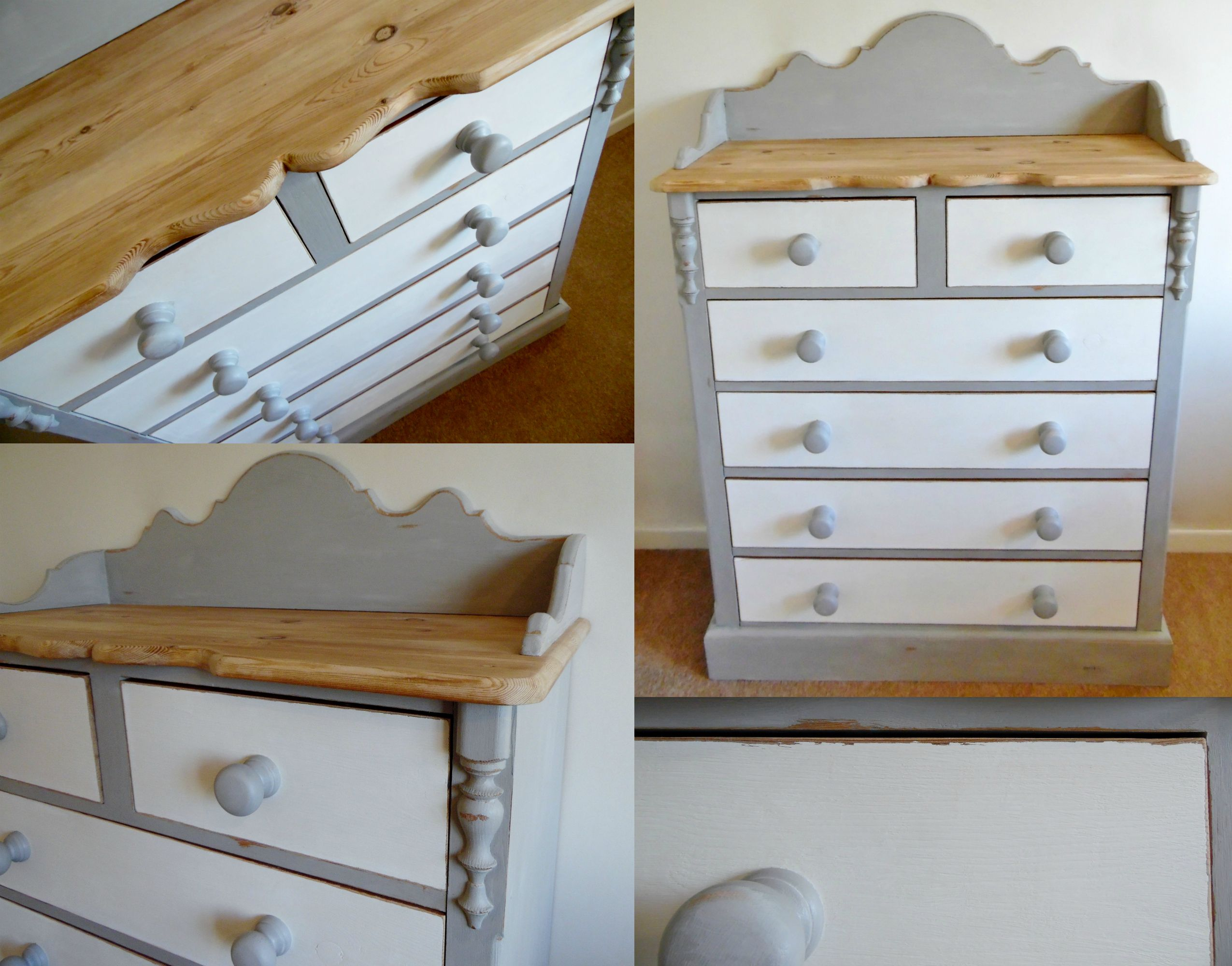 solid pine bespoke chest of drawers with a lightly distressed finish