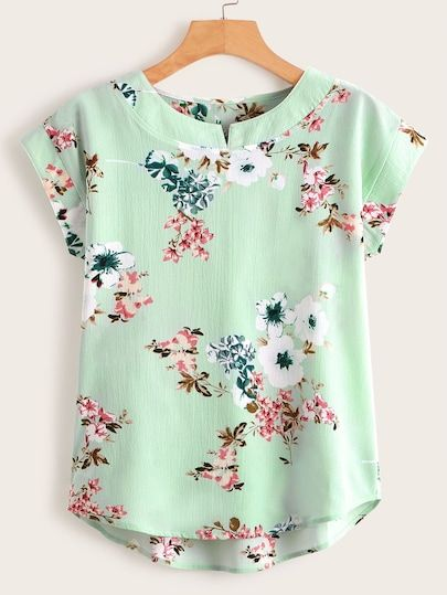 Floral Print High Low Blouse [swblouse00190521260] - $24.00