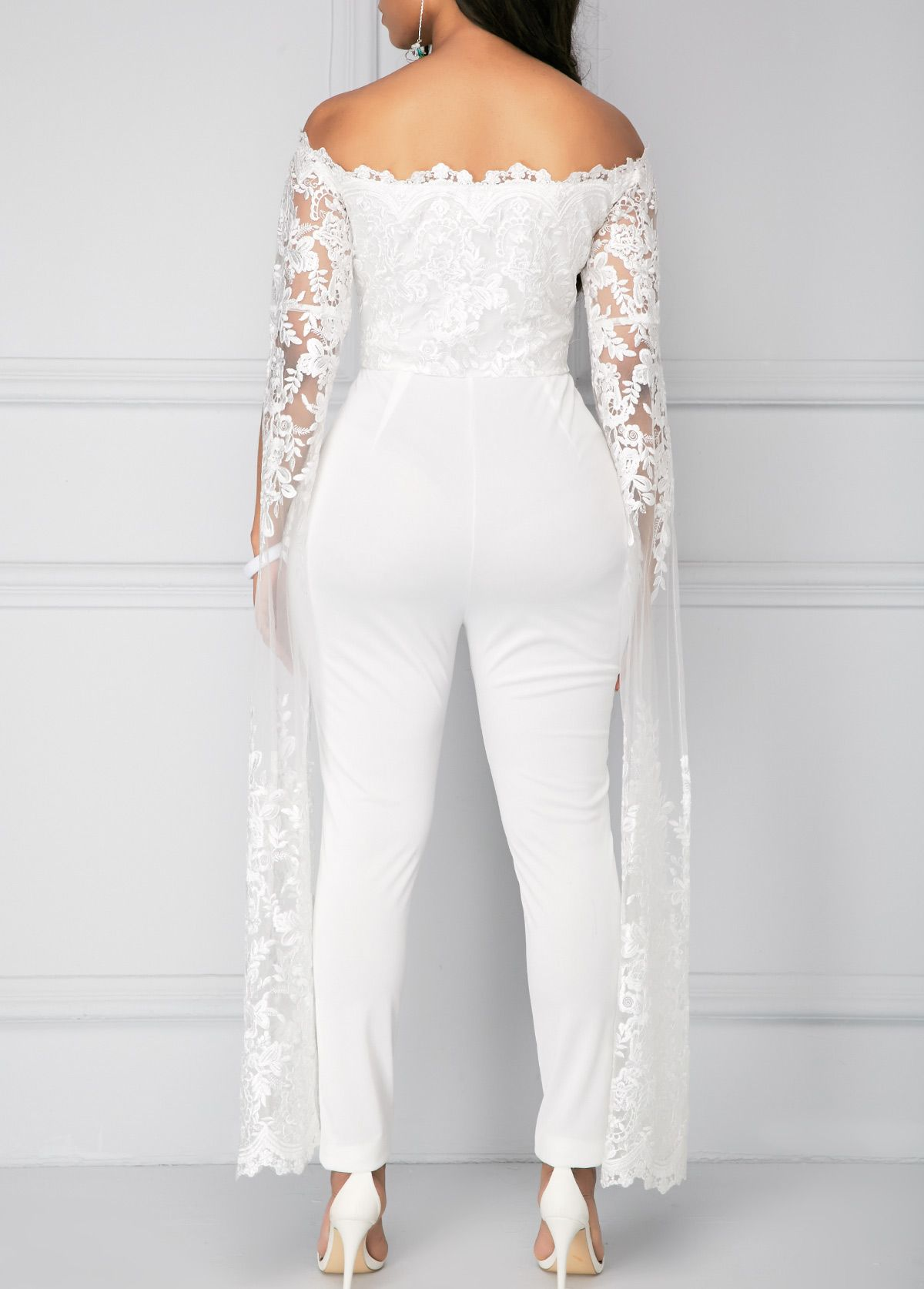 38b6d18e9bb White Off the Shoulder Lace Panel Jumpsuit