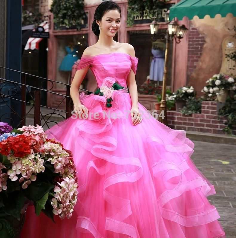 Cheap Hot pink floral abito medievale sissi principessa medievale ...