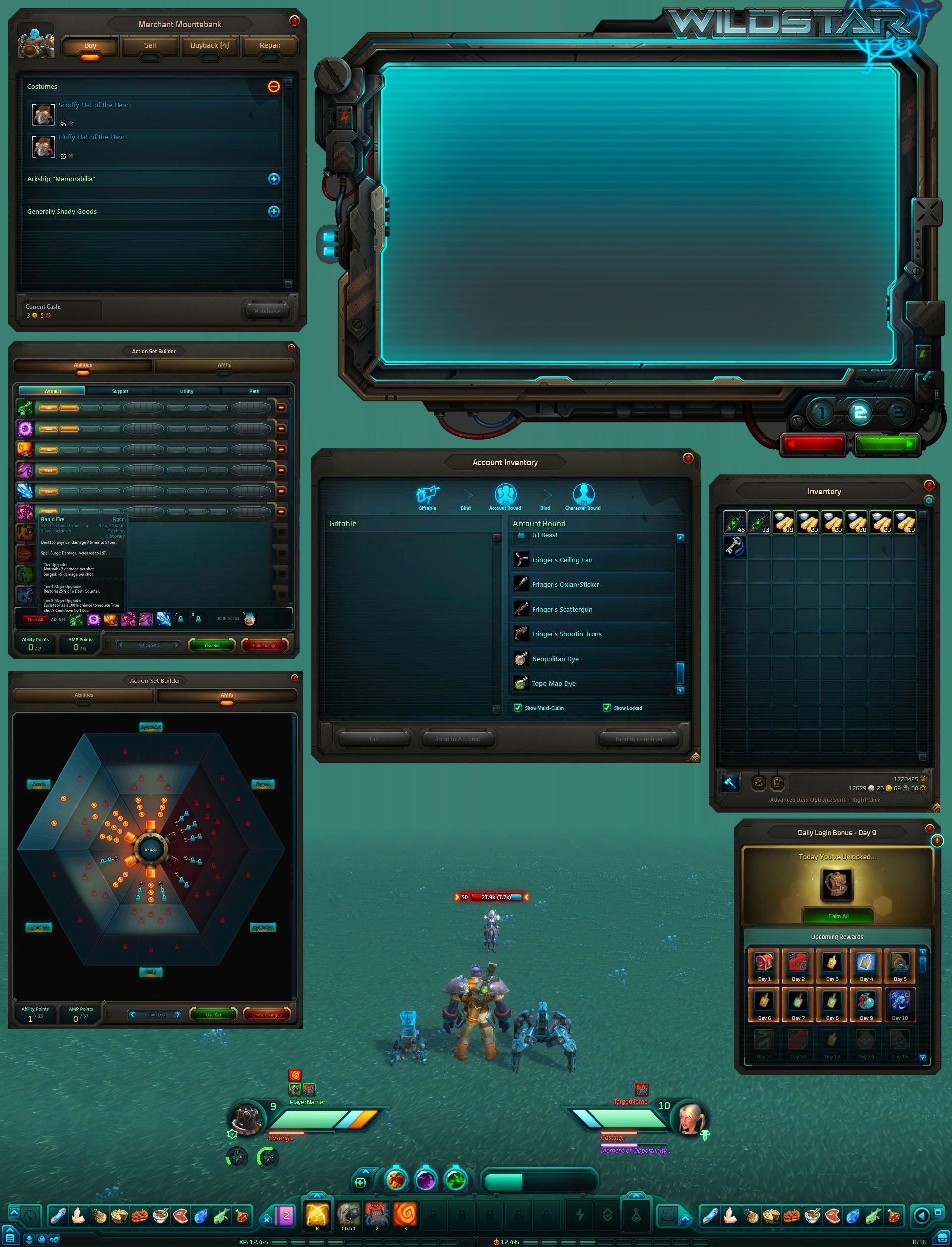 Wildstar UI screen captures