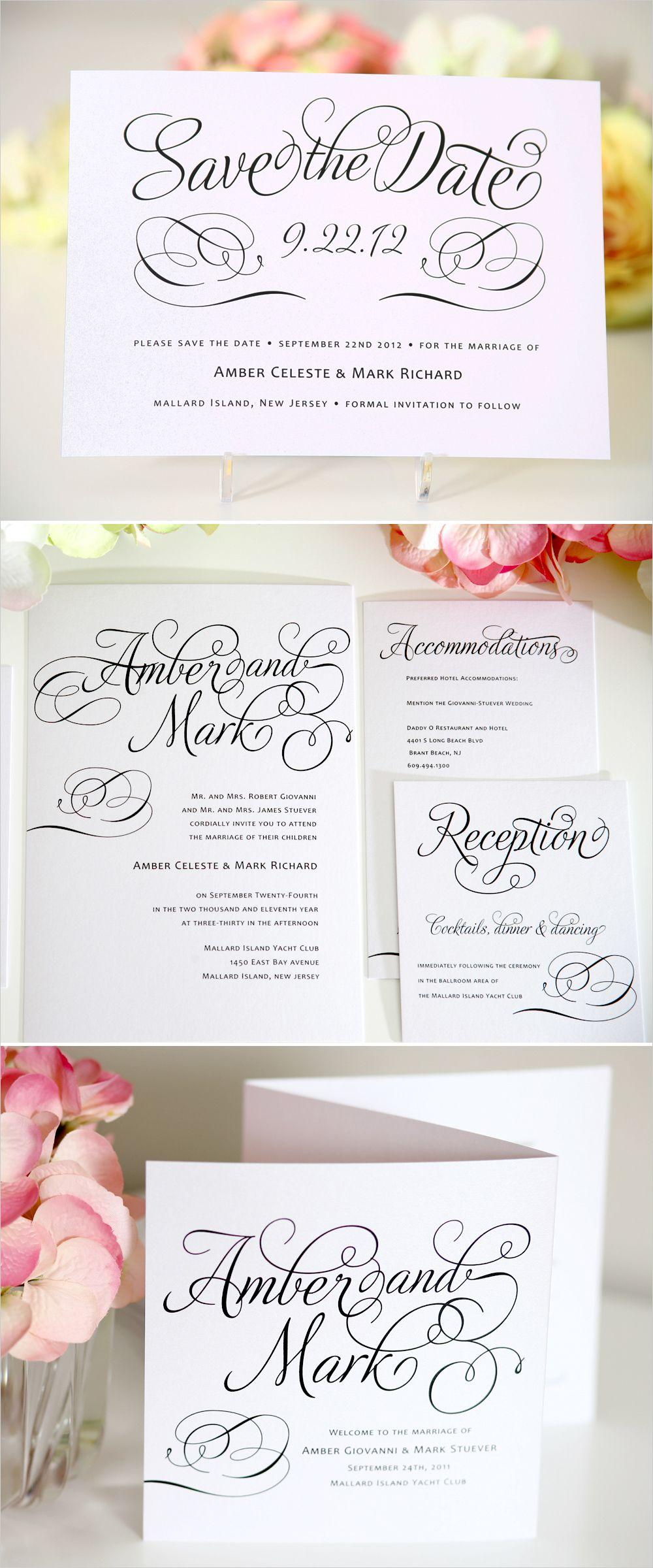 Charming Script Wedding Invitations   Weddings, Wedding and Wedding ...