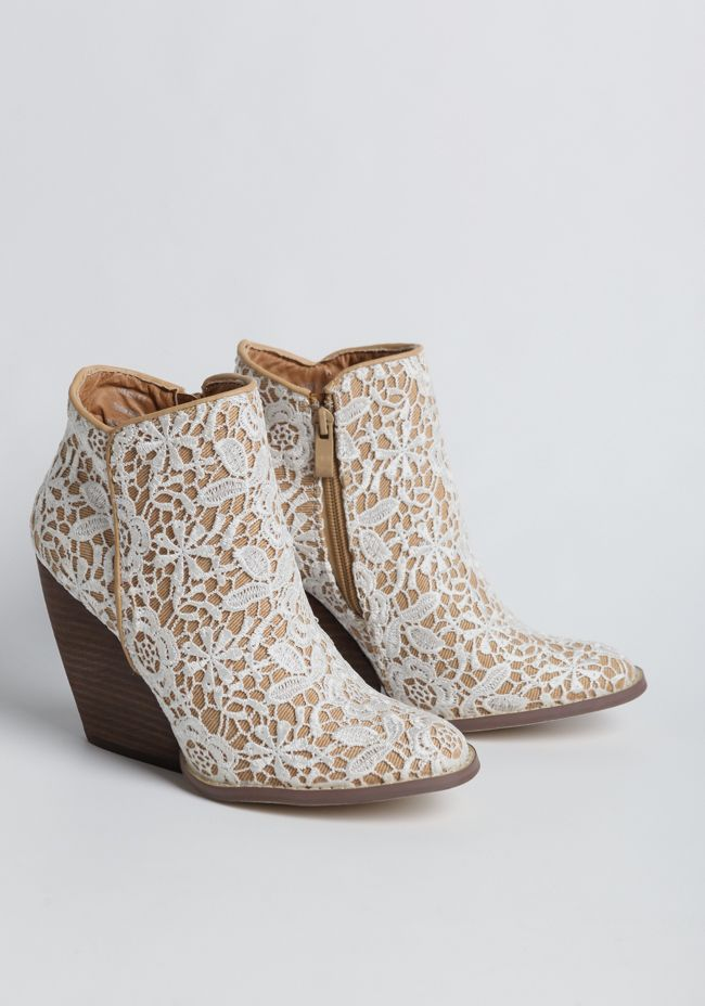 Tallulah Lace Demi Wedge Booties from Ruche