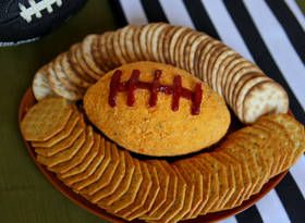 Pigskin Frenzy Cheez Ball - another cute idea for a Super Bowl party #footballpartyfood