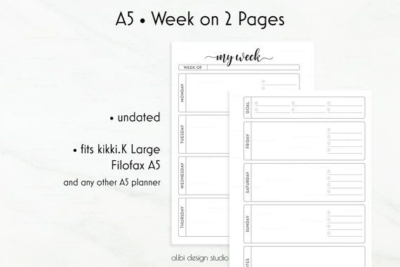 A5 Weekly Planner Inserts Week on Two Pages by AlibiDesignStudio