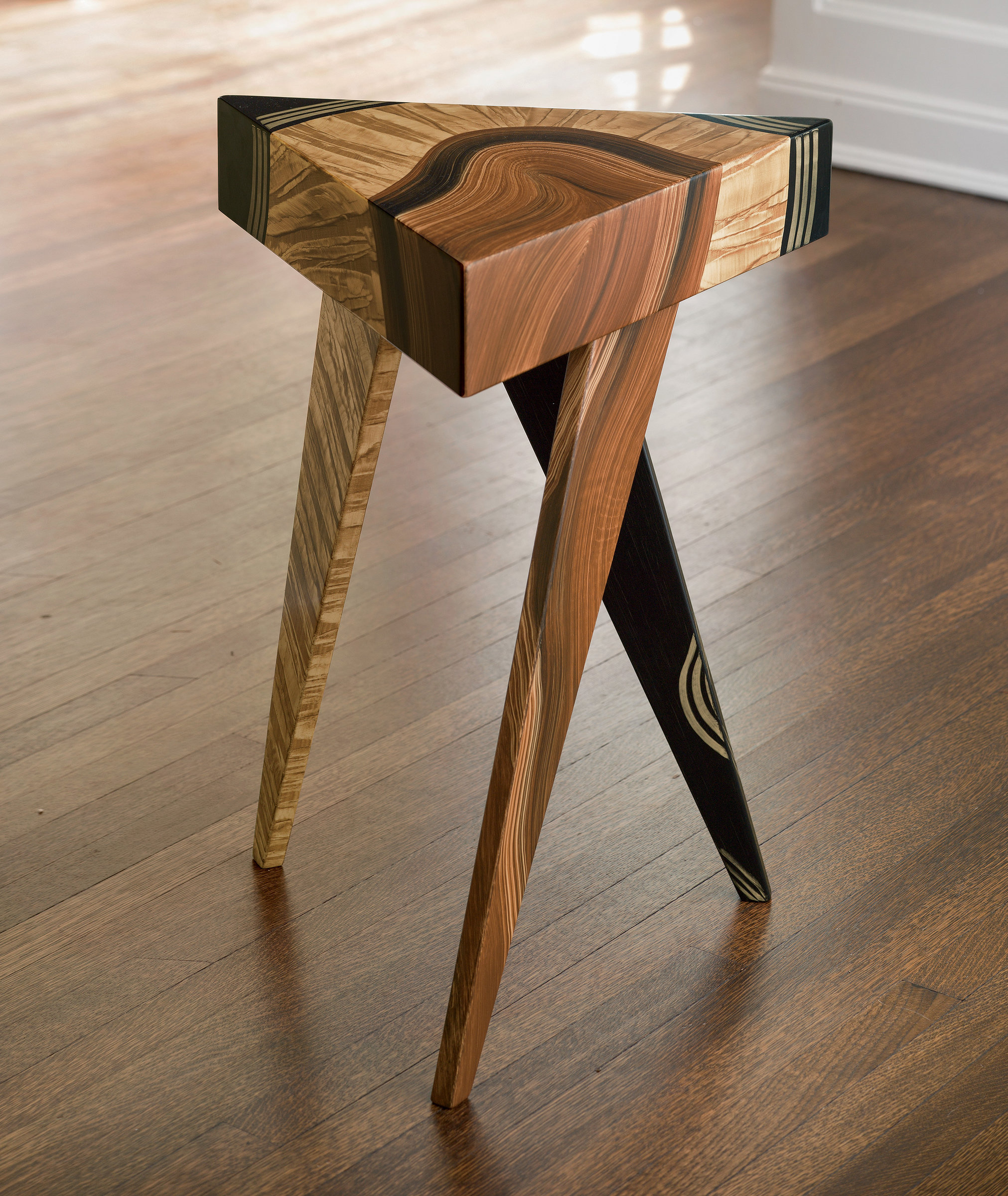 Vienna Triangle Table By Ingela Noren And Daniel Grant Wood Side Table Artful Home Side Table Wood Wood Furniture Plans Unique Furniture Design