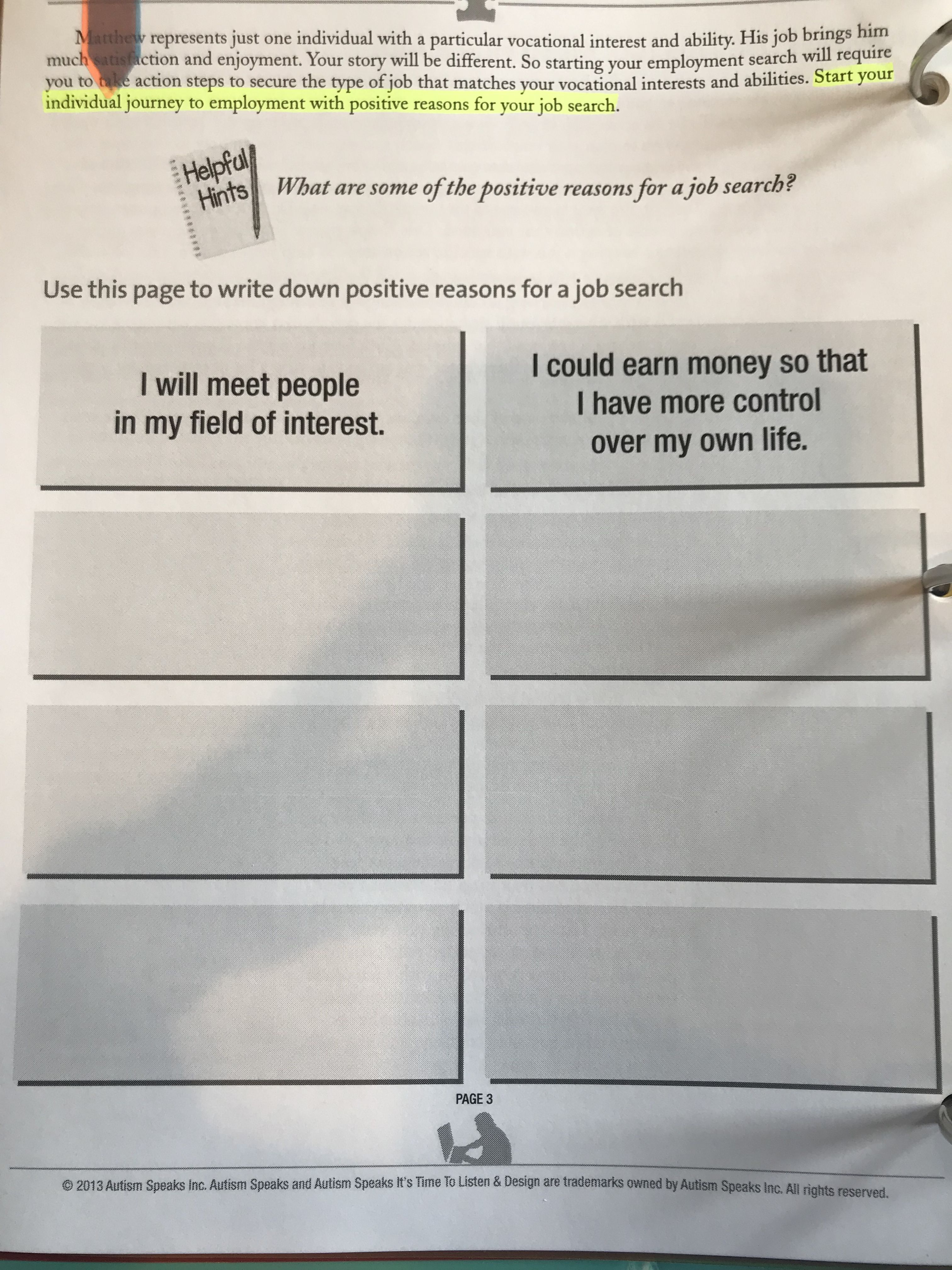 Use This Worksheet To Identify The Positive Reasons To
