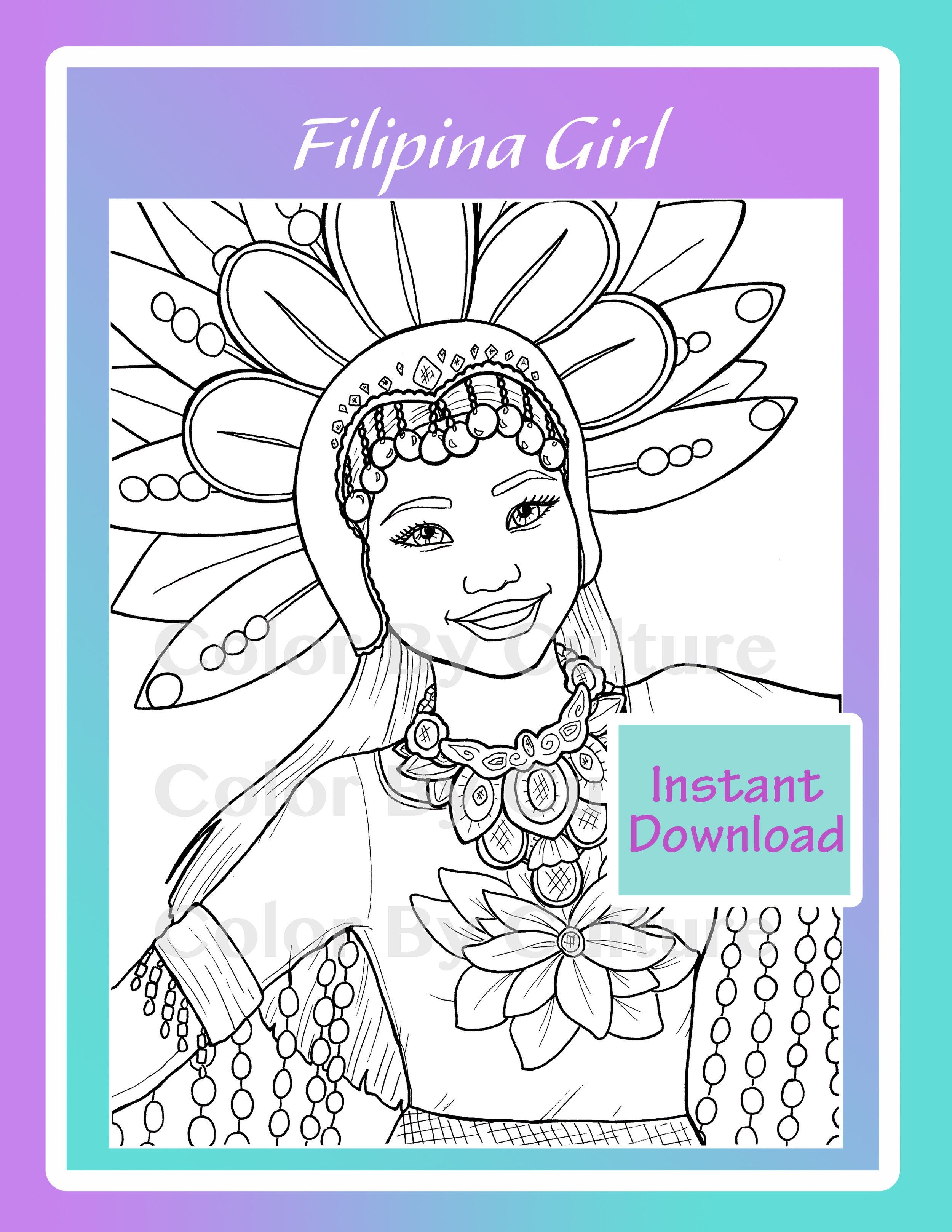 Filipina Girl Coloring Page Mermaid Coloring Pages Coloring