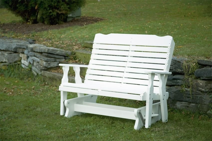 Amish Built Poly Composite Curve Back Glider Bench Outdoor Glider Wooden Bench Outdoor Wooden Outdoor Furniture