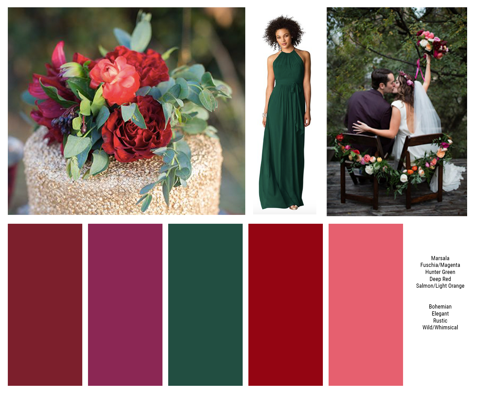My Ideal Color Palette Bms Will Wear Hunter Green I Want Florals To Be Wild Whimsical Orange Wedding Color Scheme Orange Wedding Colors Hunter Green Wedding