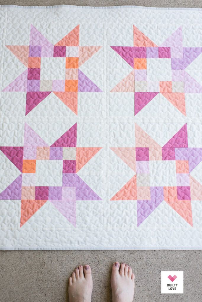 Quilty Stars Quilt  The solid baby ones is part of Quilts, Star quilt patterns, Star quilt, Quilt patterns, Baby girl quilts, Baby quilt patterns - Quilty Stars scrappy baby quilt pattern by Emily of Quiltylove com  This modern solids baby quilt pattern is quick and easy  Scrap and Stash buster quilt