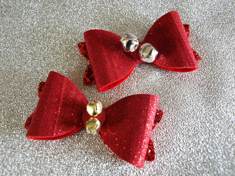 Handmade Christmas Holly Glitter Hair Clip Hair Bow Girl Baby White Sparkle