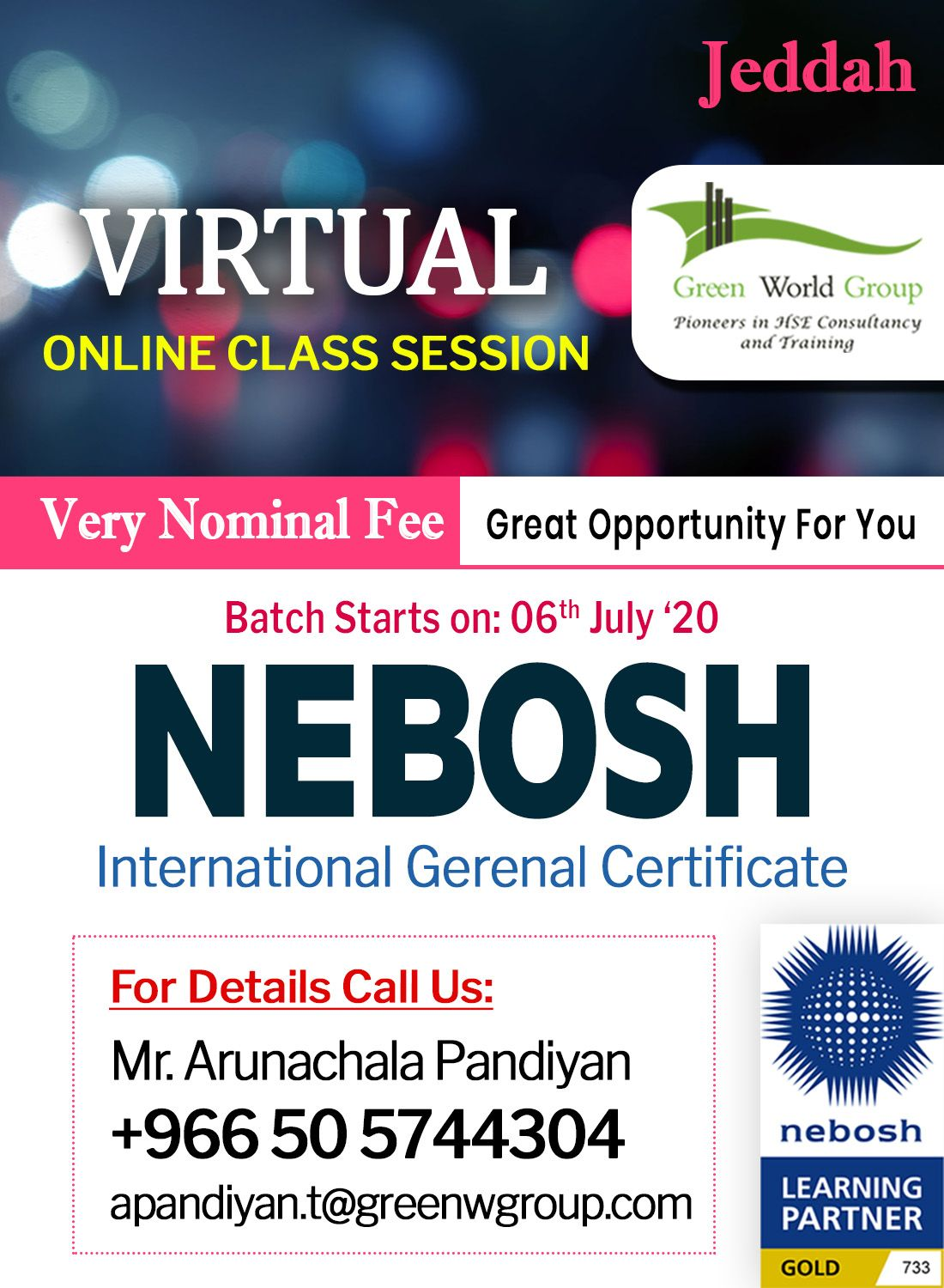 Join Nebosh IGC Live Training with Green
