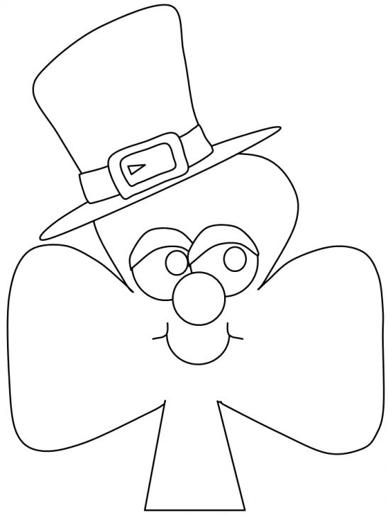 A Cartoon Shamrock Wearing Leprechauns Hat Coloring Page
