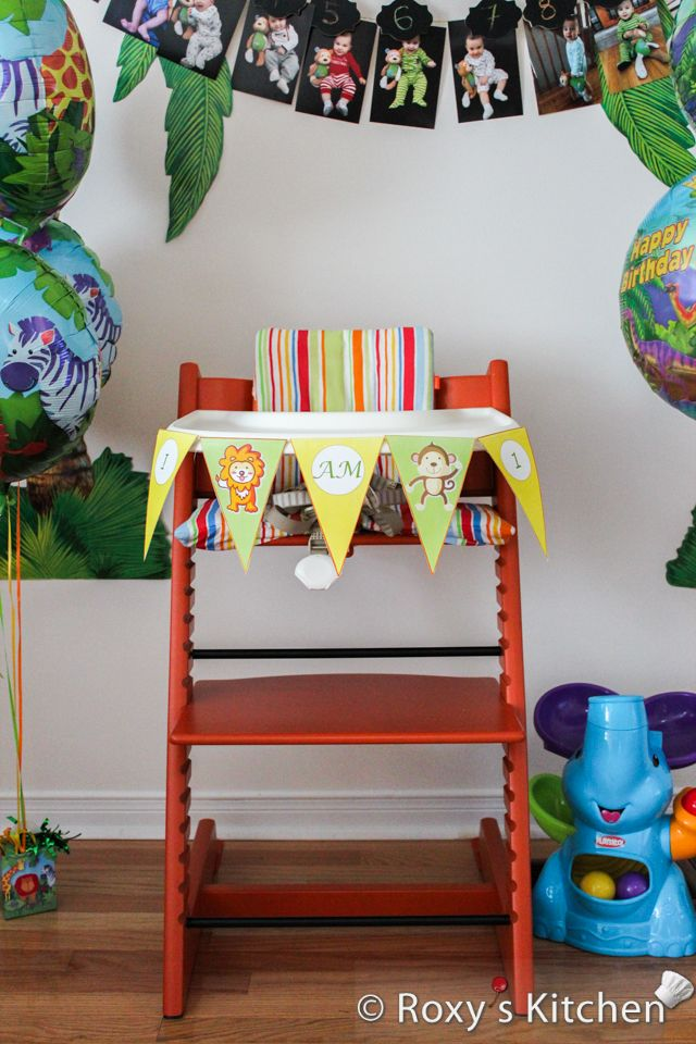 safari high chair hickory dining chairs jungle themed first birthday party diy banner free printable included