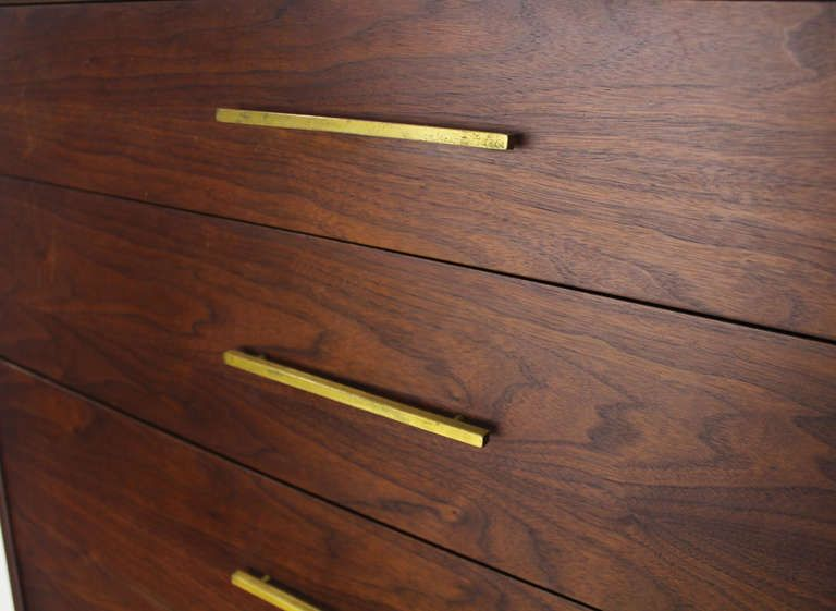Mid Century Modern Oiled Walnut High Chest Dresser W Solid Brass Pulls Image 2 Modern Drawer Pulls Modern