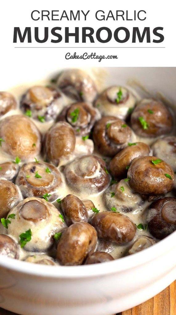 Creamy Garlic Mushrooms - Cakescottage