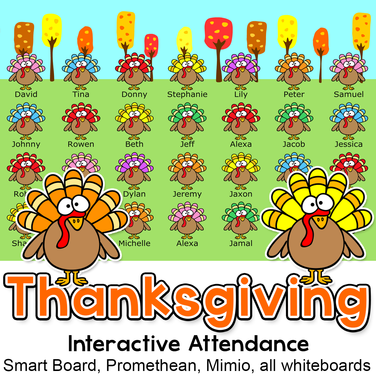 Have Fun Taking Attendance With This Thanksgiving Turkeys