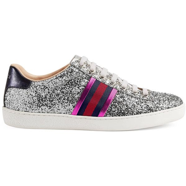 9fccf7bf9a1 Gucci Ace Glitter Low-Top Sneaker ( 650) ❤ liked on Polyvore featuring shoes